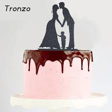 family cake toppers tronzo new glitter paper wedding cake topper black
