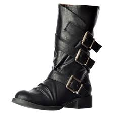 womens motorcycle boots uk blowfish kasbah three buckle mid calf winter biker boot black