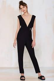 plunging jumpsuit lyst gal plunging jumpsuit in black