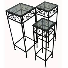 Tall Patio Furniture Sets - amazon com nesting tall square tables set of three black