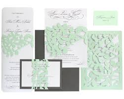 leaf lace wedding invitations mint green slate gray