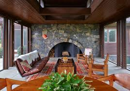 inside a hudson valley home in the style of frank lloyd wright