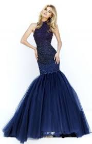 high neck blue sheer lace top with tulle skirt two piece long prom