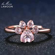 silver pink rings images Lamoon bear 39 s paw 5mm 100 natural pink rose quartz ring 925 jpg