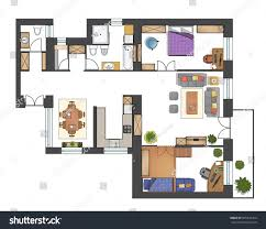 colorful floor plan house stock vector 695331454 shutterstock