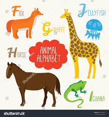 alphabet kids animals letters f g stock vector 181748801