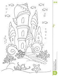 mermaid s castle at ocean bottom stock vector image 81471421