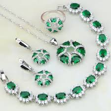 green stones necklace images New arrival green stones white birthstone charms 925 silver jpg