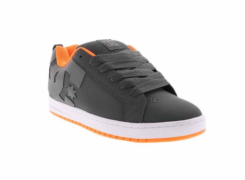 DC Court Graffik 300529 Gray Leather Athletic Lace Up Skate Shoes