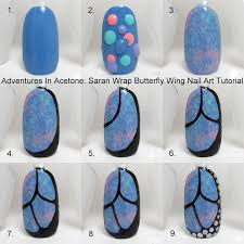 tutorial tuesday butterfly wing saran wrap nail art adventures