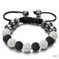 white crystal bracelet images Fine black and white crystal shamballa bracelet braided beads jpg
