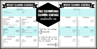 printable house cleaning schedule weekly customizable cleaning schedule printable and video tutorial