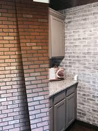before and after lowes brick panel painted white brick backsplash