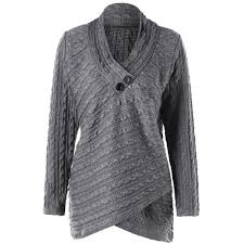 plus size cable knit sweater plus size cable knit overlap top in gray 5xl twinkledeals com