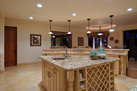 kitchen island track lighting cream tiles floor table bar stool