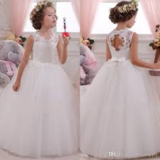 communion dresses lovey holy lace princess flower girl dresses 2018 gown