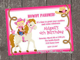 blonde cowgirl birthday invitations by paper monkey company