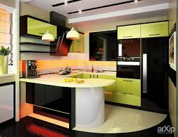 modern kitchen design in small space with green gloss cabinet with