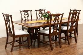 Dining Room Tables With Leaf by Sold Baker Charleston Collection Signed Banded 2 Pedestal Dining