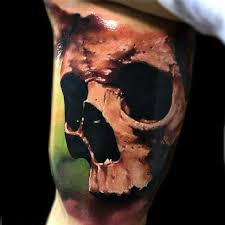 awesome 3d skull on bicep