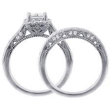 womens wedding ring sets 1 carat vintage princess cut diamond wedding ring set for women