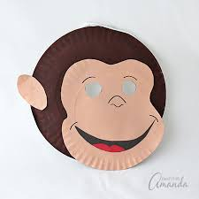 Monkey Paper Plate Craft - curious george paper plate mask crafts by amanda