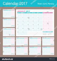 calendar planner template 2017 year set stock vector 508602070