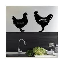 poule deco cuisine stickers ardoise poule et coq décoration murale pour cuisine