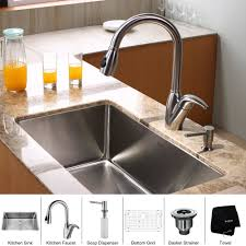 metal kitchen sink and cabinet combo kraus khu100 30 kpf2120 sd20 stainless steel kitchen combo