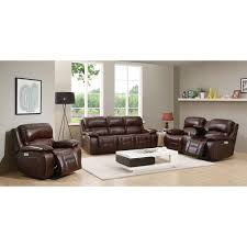 Sofa Recliner Set Hydeline By Amax Westminster Ii Top Grain Leather Brown Power