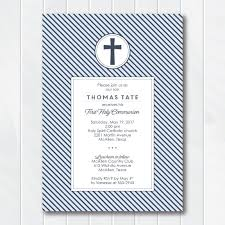 confirmation invitation slate stripes communion boys invitation