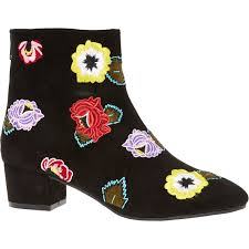 womens boots tk maxx betsey johnson black floral embroidered ankle boots tk maxx