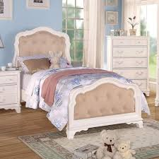 acme furniture ira youth twin bed w button tufted headboard and