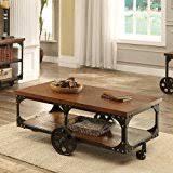 rustic coffee table with wheels amazon com gabriel cocktail table hardwood iron wheel storage