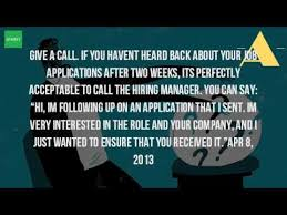 what do you say when you follow up on a job application youtube