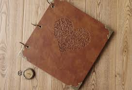 leather scrapbook quality vintage diy family photo album leather scrapbook