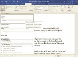 Change Table Style Word How To Add A Table Of Contents In Word 2016