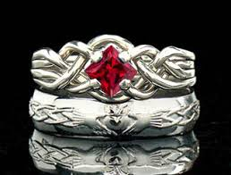 avalon wedding band celtic engagement rings ruby puzzle ring with claddagh band