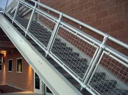 Exterior Stair Railing by Woven Wire Metal Railings Exterior Wall Along With Metal