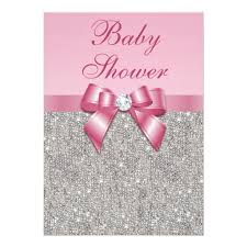 pink and silver baby shower silver gems bow diamonds pink baby shower invitation