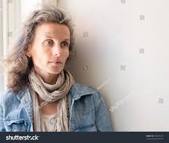 looking with grey hair middle aged woman grey hair denim stock photo 491673247 shutterstock