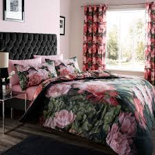 catherine lansfield dramatic floral black pink duvet quilt cover