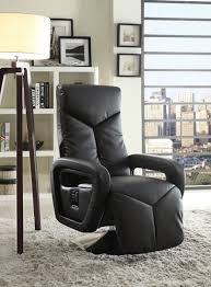 Swivel Recliner Chairs For Living Room Homelegance Diem Swivel Reclining Chair Black Bonded Leather