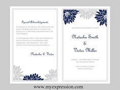 bi fold wedding program template diy wedding program template bifold purple orange monogram leaf