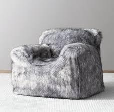 luxe faux fur bean bag chair grey wolf
