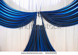 wedding backdrop background white blue curtain backdrop background wedding stock photo