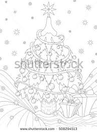 coloring book christmas tree stock vector 224701705 shutterstock