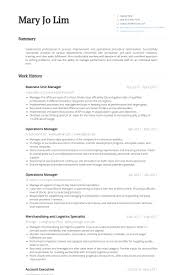 Operations Manager Resume Sample by Unit Manager Resume Samples Visualcv Resume Samples Database