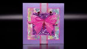 pink butterfly hand made birthday card