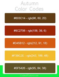 Autumn Color Schemes Autumn Color Palette Fall Hex And Rgb Color Codes
